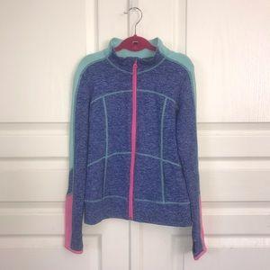 Zella Girl Blue/Mint Green/Pink Track Jacket Sz L